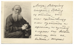 Tolstoy, Leo - Postcard - Photograph with handwriting
