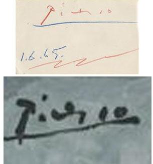 פיקאסו- חתימות בכלי כתיבה שונים